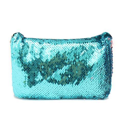 Handbag Mermaid sparkling sequins mermaid makeup bag handbag belt glitter