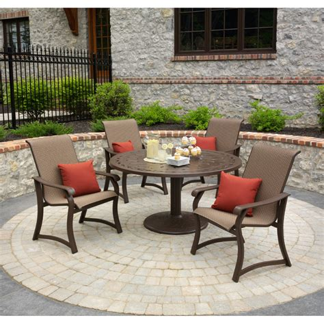 dining patio set telescope casual villa sling 5 outdoor patio dining