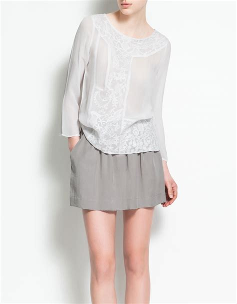 Embroided Blouse embroidery blouse zara makaroka