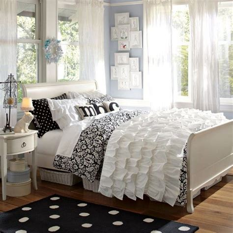 black and white curtains for bedroom love the ruffle bed cover and the soft white curtains