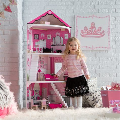 pink doll house kidkraft think pink corner dollhouse 65836 toy dollhouses at hayneedle