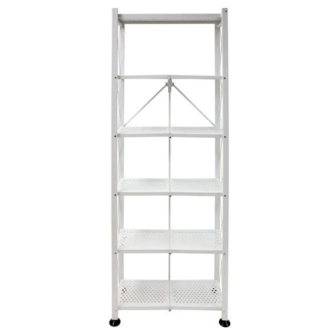 white folding bookcase origami 6 tier folding multipurpose bookcase in white rb 03 the home depot