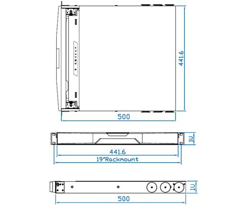 1 U Rack Dimensions by 19 Inch 1280 X 1024 Rackmount Monitor Drawer