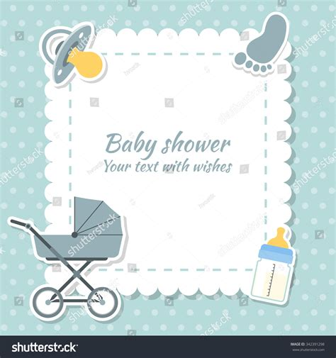 Baby Shower Boy Invitation Card Place Stock Vector 342391298 Shutterstock Baby Shower Text Template
