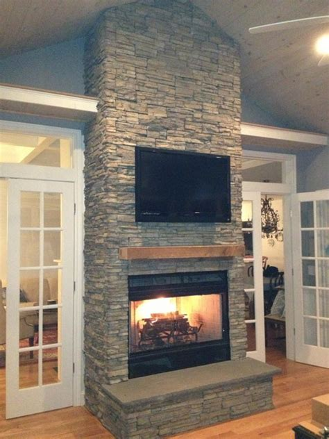 Affordable Bathroom Remodel Ideas stacked stone fireplace
