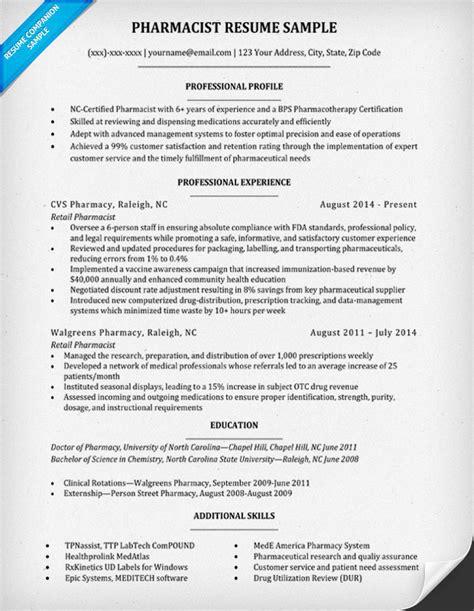 Pharmacist Resume by Pharmacist Resume Sle Writing Tips Resume Companion