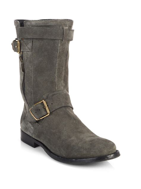 s burberry boots burberry grantville suede buckle midcalf boots in gray lyst