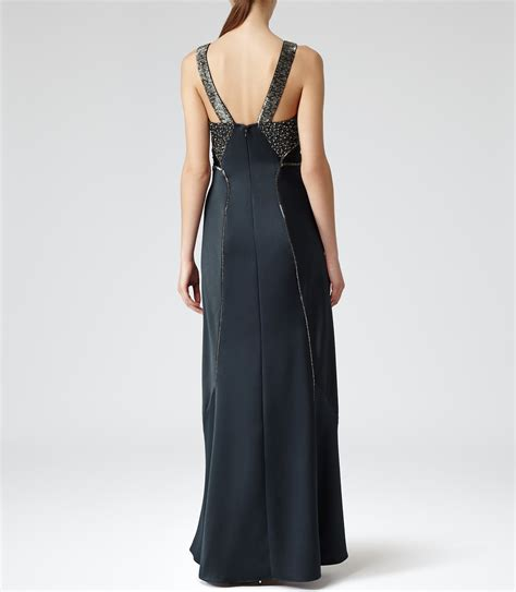 Lyst Reiss Antibel Beaded Maxi Dress In Blue