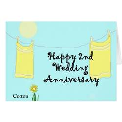 2nd wedding anniversary greeting card zazzle
