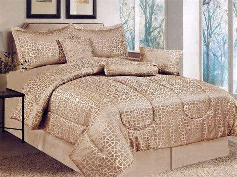 beige comforter queen 7 pc royal majestic geometric gold beige jacquard