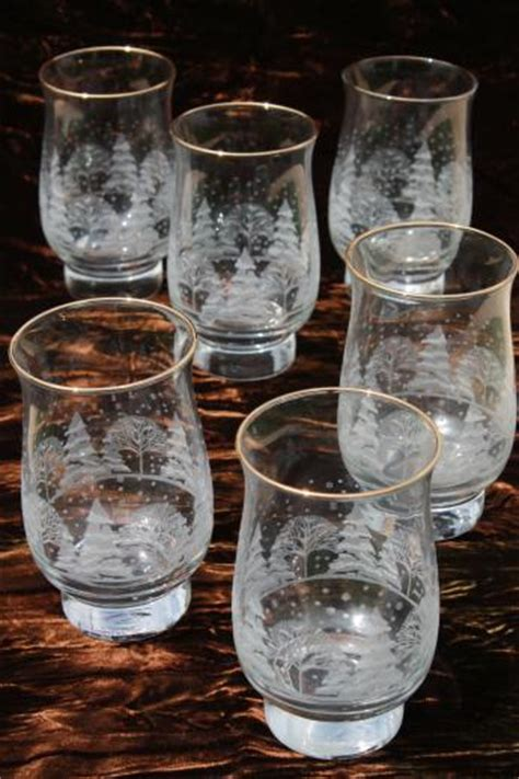 christmas barware snowy forest christmas glasses libbey tulip shape tumblers w white pine trees