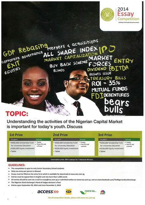 2015 Essay Competition In Nigeria by 2014 Nigeria Stock Exchange Essay Competition Education Nigeria