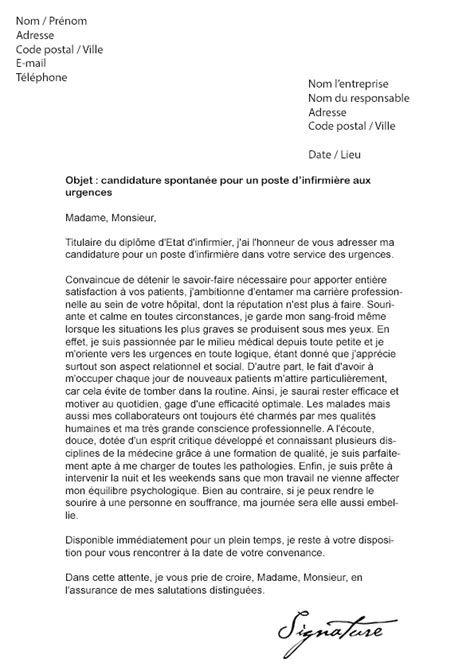 Exemple De Lettre Motivation Infirmière Lettre De Motivation Infirmi 232 Re Urgences Mod 232 Le De Lettre