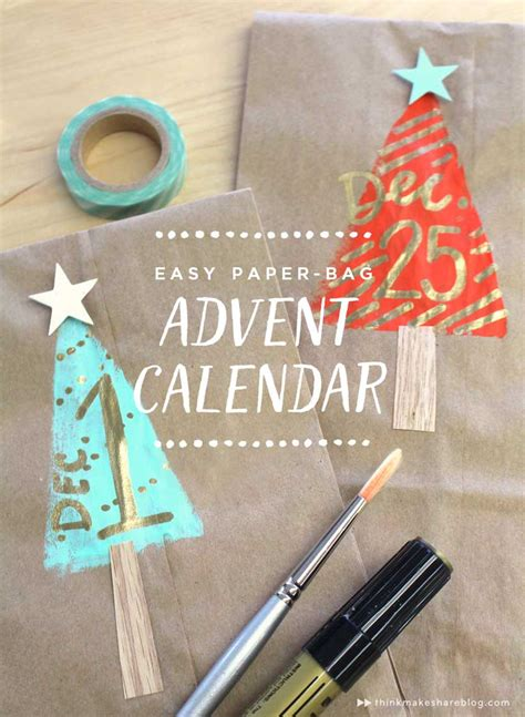 how to make an advent calendar with paper make an easy paper bag advent calendar think make
