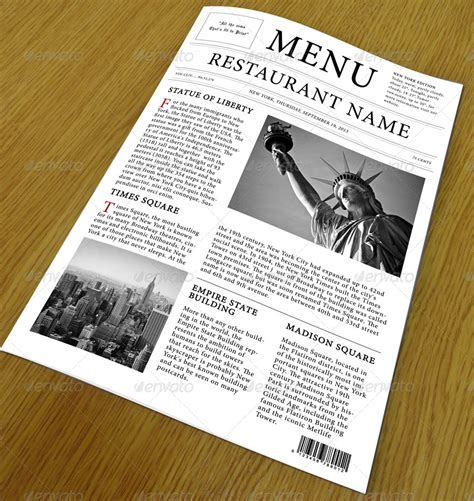Restaurant Menu Newspaper Style By Rinew Studio Graphicriver Newspaper Style Menu Template