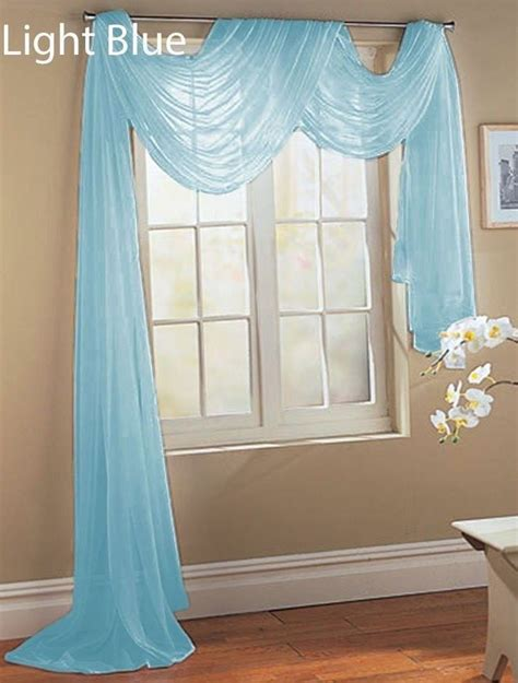 light blue voile curtains 2 light blue scarf sheer voile window treatment curtain