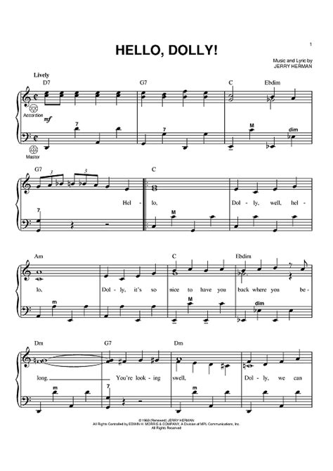 free printable sheet music for accordion hello dolly accordion sheet music for piano and more