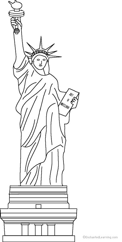 statue  liberty clipart coloring page pencil