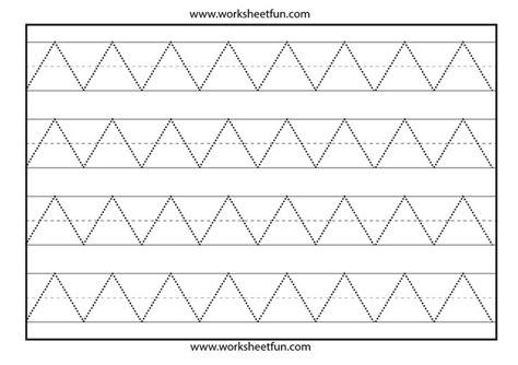 zigzag tracing pattern zig zag line tracing preschool worksheets pinterest