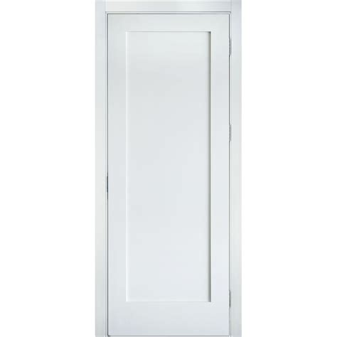1 Panel Interior Doors Krosswood Doors 24 In X 80 In Shaker 1 Panel Primed Solid Mdf Right Single Prehung