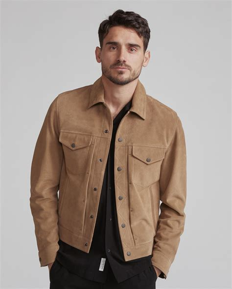 Trucker Denim Jacket In Brown suede trucker jacket jackets coats rag bone