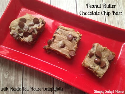 peanut butter bars with chocolate chips melted on top peanut butter chocolate chip bars with nestle toll house delightfulls simply sweet home