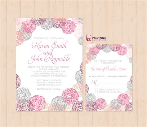 Wedding Invitation Template Works flower works wedding invitation and rsvp set wedding