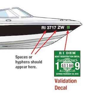displaying boat registration numbers displaying the registration number and validation decals