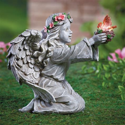 angel solar lights outdoor angel garden decor with solar lighted bird fresh garden