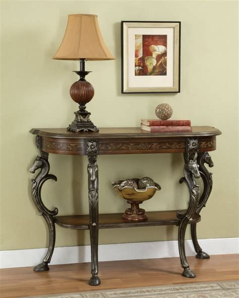 furniture foyer powell furniture masterpiece demilune sofa console