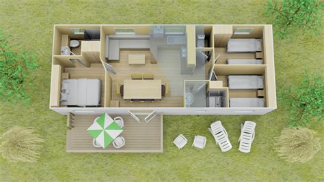 Floor Plan Of Two Bedroom House Fully Equipped 3 Bed Loft Espace Mobile Homes Eurocamp Co Uk