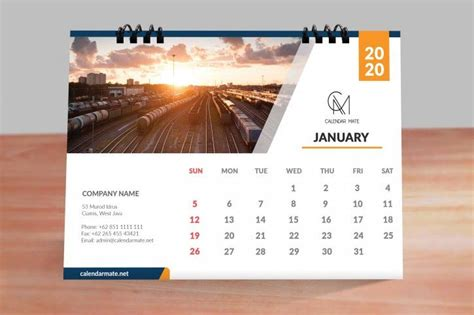 trevor  simple clean desk calendar design template    psd desain