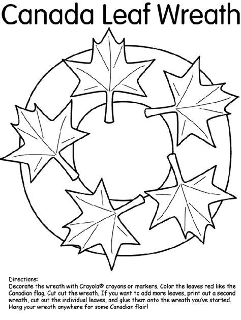 canadian leaf coloring page canada leaf wreath crayola co uk