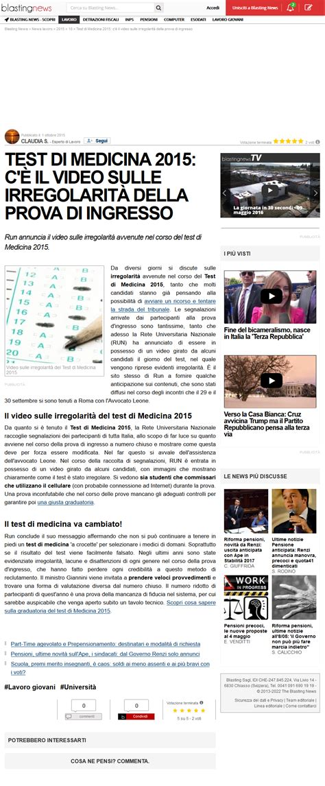 ingresso medicina 2015 blastingnews c 232 il delle irregolarit 224 test