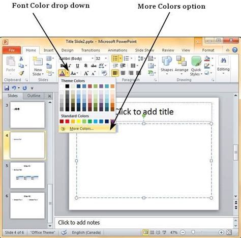 how to color change text color in powerpoint 2010