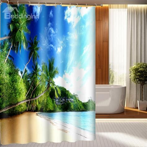 scenery curtains high quality attractive beach scenery 3d shower curtain