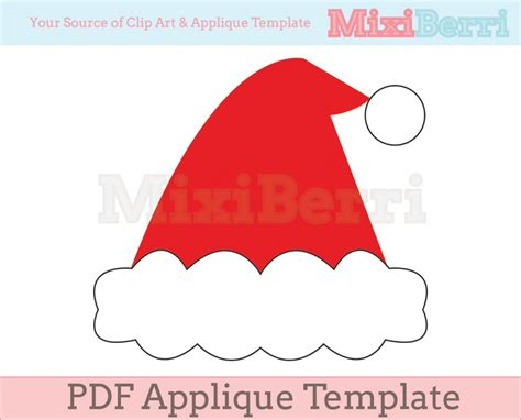christas hat template santa hat applique template pdf on luulla
