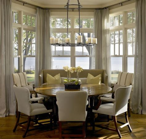 Images Of Bay Windows Inspiration Breakfast Nook Drapes In Bay Window And Table With Enough Seats For Our Family A