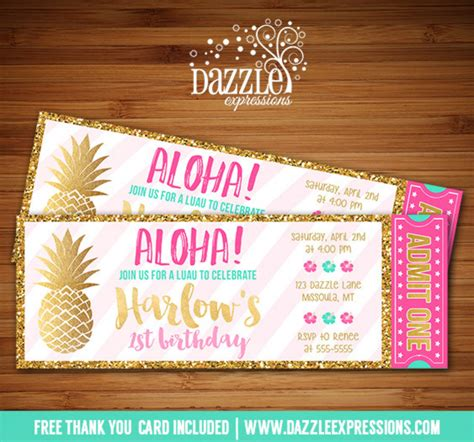 card template hawaian birthday printable pink and gold pineapple luau ticket birthday