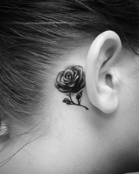 rose behind ear tattoo 40 blackwork tattoos you ll instantly tattooblend