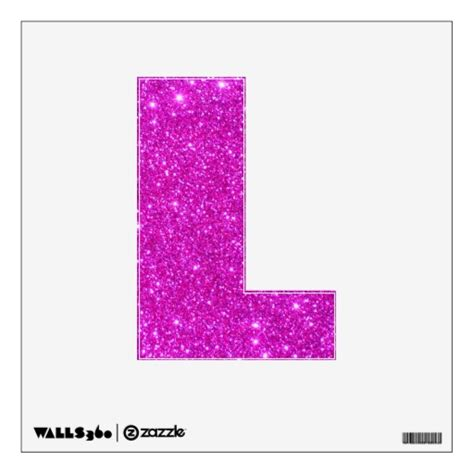 pink glitter sparkle wall decal letter l zazzle
