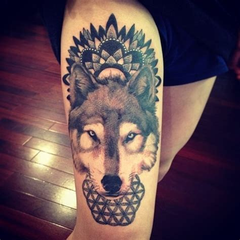 indian pattern thigh tattoo indian pattern and wolf tattoo design of tattoosdesign
