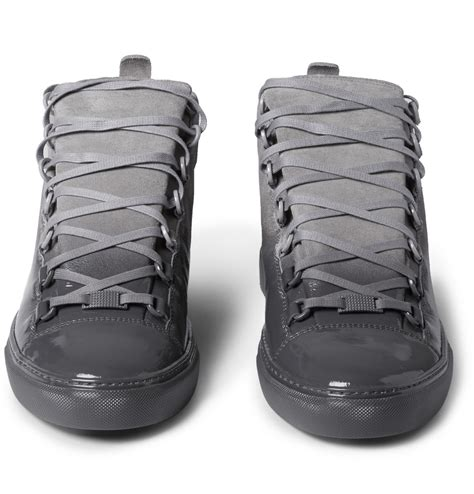 the grey balenciaga arena glossed suede high top grey the sole supplier