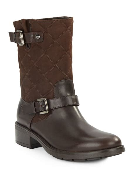 Quilted Boots by Aquatalia Sherry Quilted Suede Leather Boots In Brown