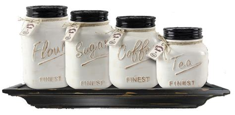 kitchen canisters and jars ceramic mason jar canisters cream set of 4 farmhouse