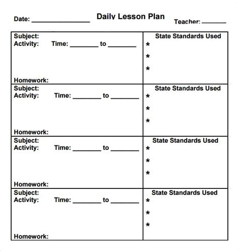 daily lesson plan template preschool daily lesson plan