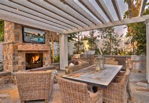 Pergola pergola with outdoor fireplace outdoor furniture and tv