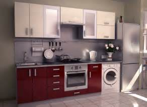Small kitchen using red modular kitchen design with beige wall cabinet