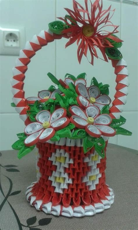 flores origami cesta de flores manualidades origami 3d regalos hechos
