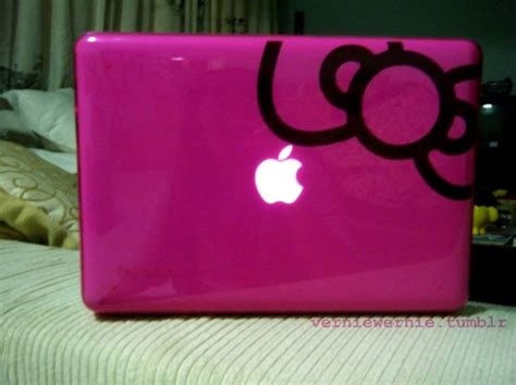 Laptop Apple Pink Hello apple bow gadget girlie girly hello image